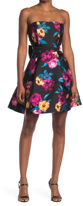 Betsey Johnson Floral Strapless Fit & Flare Dress