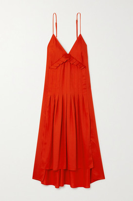 Mother of Pearl + Net Sustain Auraura Asymmetric Pleated Lyocell Midi Dress - Orange
