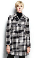 Lands' End Women's Petite Wool Toggle Coat-Black/Warm Canvas Plaid