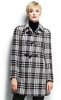 Lands' End Women's Wool Toggle Coat-Black/Warm Canvas Plaid