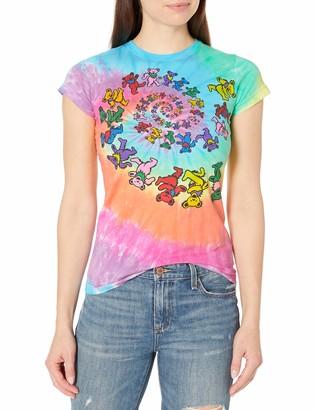 Liquid Blue Women's Grateful Dead Spiral Bear Rainbow Tie Dye Graphic Tee Large