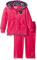 Juicy Couture Girls' Velour Hooded Jacket and Pants with Printed Accents
