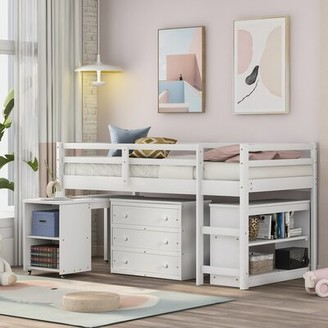 Harriet Bee Chinasa Study Twin Low Loft Bed with Desk, Bookcase and 3 Drawers Bed Frame Color: White