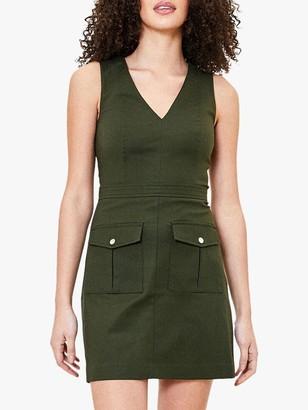 Oasis V Neck Utility Dress, Khaki