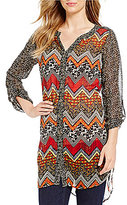 Multiples Long Roll-Tab Sleeve Button Front Chevron Print Hi-Lo Shirt