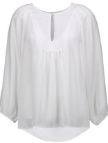 Joie Nanor Ruched Silk Blouse