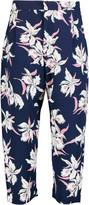 Marni Cropped printed silk-georgette wide-leg pants