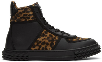 Giuseppe Zanotti Brown and Black Leopard Blabber High-Top Sneakers