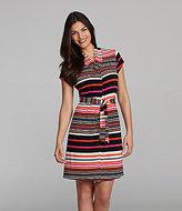 Alex Marie Elaine Striped Tie-Front Knit Dress