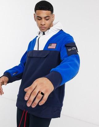Polo Ralph Lauren color block overhead hooded jacket in navy