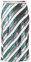 Diane von Furstenberg Sequin-striped Bias-cut Skirt - Womens - Green Multi