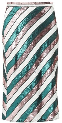 Diane von Furstenberg Sequin-striped Bias-cut Skirt - Green Multi