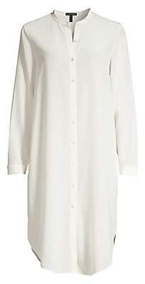 Eileen Fisher Women's Long Silk Crepe De Chine Shirt