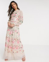 Needle & Thread floral embellished maxi dress in blush