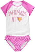 Crazy 8 Mermaid At Heart Rash Guard Set