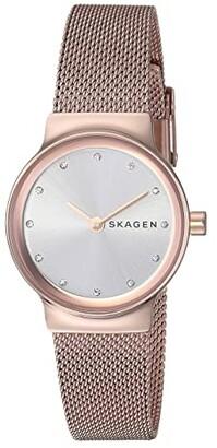 Skagen Freja Two-Hand Stainless Steel Mesh Watch (SKW2665 Rose Gold Stainless Steel Mesh) Watches