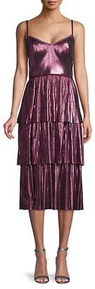 Marchesa V-Neck Ruffled Tiered Dress