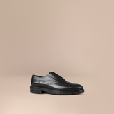 Burberry Leather Wingtip Brogues With Rubber Sole