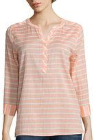 ST. JOHN'S BAY St. John's Bay 3/4 Sleeve Gauze Popover Shirt