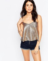South Beach Gold Foil Swing Beach Crop Top With Strap Detail