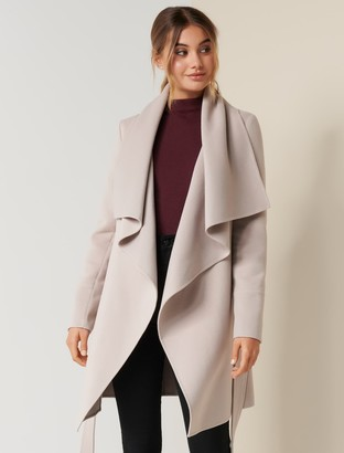 Forever New Willow Wrap Coat - Mink - 10