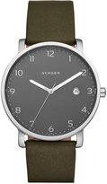 Skagen Men's Hagen Green Leather Strap Watch 40mm SKW6306