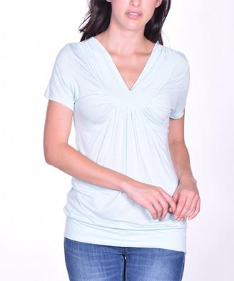 Pastels Women's Tee Shirts Blue - Blue Ruffle V-Neck Top - Women