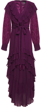 Just Cavalli Tiered Paneled Lace And Georgette Mini Dress