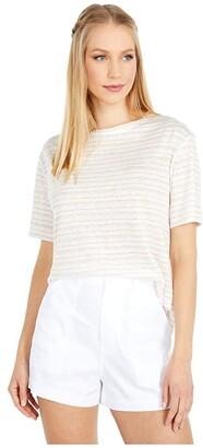 Vince Multi Stripe Boyfriend Tee (Off-White/Light Dune/Papaya) Women's Clothing