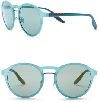 Prada Linea Rossa Phantos Polarized 53mm Round Sunglasses