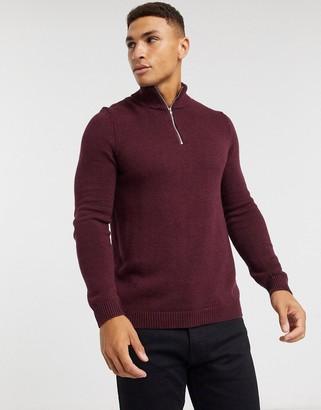 ASOS DESIGN midweight cotton half-zip jumper in burgundy