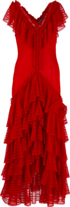 Alexander McQueen Ruffle Knit Midi Dress