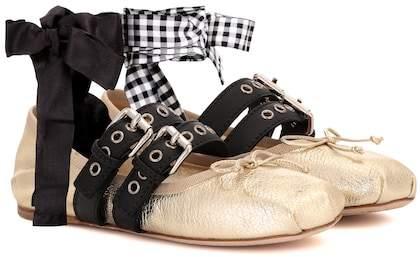 Miu Miu Leather ballerina shoes