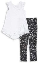 Calvin Klein Girls Textured Tee and Paint-Splatter Leggings Set