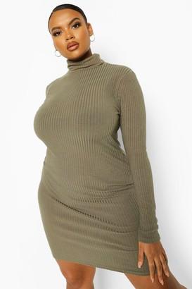 boohoo Plus Soft Rib Roll Neck Dress