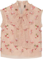 Needle & Thread Ditsy Pussy-bow Embellished Tulle Blouse - Blush