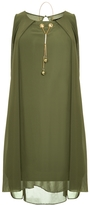 Quiz Khaki Chiffon Necklace Tunic Dress