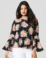 Fashion World Black Print Flared Sleeve Bardot Top