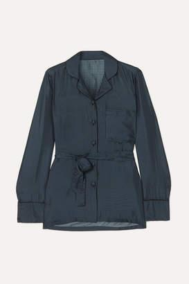 Giuliva Heritage Collection Giulietta Belted Polka-dot Silk-satin Jacket - Blue