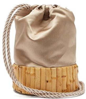 Glorinha Paranagua Saigon Satin And Bamboo Bucket Bag - Womens - Nude