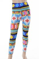 Leggings4U L4U Girls Colorfully Sweet Shapes Brushed Printed Fashion Leggings / Free Expedited Shipping.