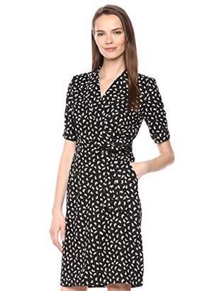 Calvin Klein Women's Short Sleeve V-Neck Wrap Dress with Self Belt