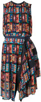 Sacai Floral Pleated sleeveless dress - women - Polyester/Cupro - 2