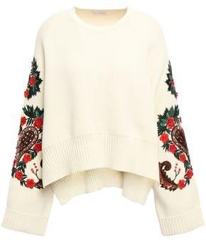 Oscar de la Renta Embellished Cotton Sweater