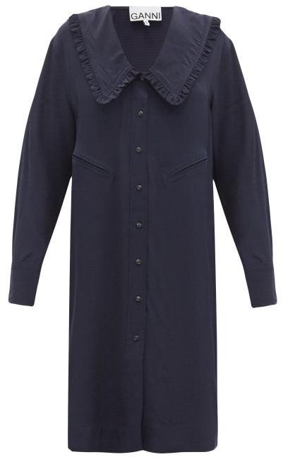 Ganni Chelsea-collar Ripstop Shirt Dress - Navy