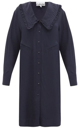 Ganni Chelsea-collar Ripstop Shirt Dress - Navy