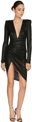 Alexandre Vauthier Draped Rib Jersey Lame Mini Dress