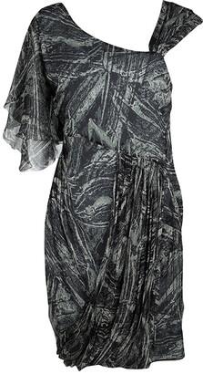 Catherine Malandrino Multicolor Printed Ruffle Detail Draped Dress S