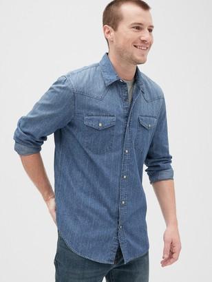 Gap Print Denim Shirt in Slim Fit