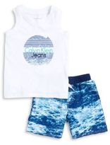 Calvin Klein Jeans Little Boys Logo Tank and Wave Print Board Shorts Set